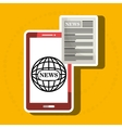 news online with smartphone isolated icon design vector image