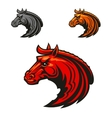Horse stallion heads heraldic emblems vector image