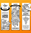 paper Thanksgiving vertical banners set vector image