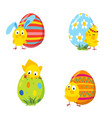 set of funny easter chickens and eggs vector image