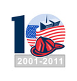 american flag with twin tower building firefighter vector image vector image