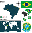 Brazil map world vector image