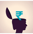 Thinking concept-Human head with rupee symbol vector image vector image