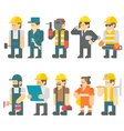 Flat design of construction worker set vector image vector image