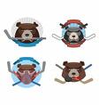 Hockey logo bear set Muzzle animals with sticks vector image vector image