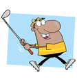 African American Golfer Running vector image vector image