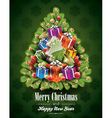 Christmas with magic tree and holiday elements vector image