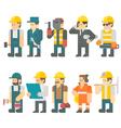 Flat design of construction worker set vector image