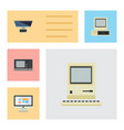flat icon computer set of pc vintage hardware vector image