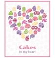 I love cakes Baking heart shaped sign vector image