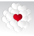 Paper hearts background with alone red heart vector image