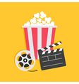 Movie reel Open clapper board Popcorn Cinema icon vector image