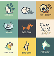 pets icons collection vector image