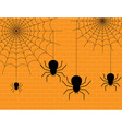 4 spiders on a yellow wall vector image