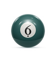 Billiard six ball isolated on a white background vector image