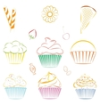 Set of cupcakes and sweets Outline vector image