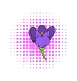 Crocus flower icon comics style vector image