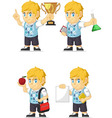 Blonde Rich Boy Customizable Mascot 2 vector image