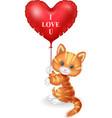 cartoon cat holding red heart balloon vector image