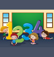 counting numbers with kids in classroom vector image