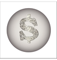 Dollar made of silver or platinum vector image