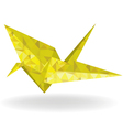Paper gold bird and doves set in origami style vector image