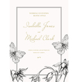Wedding invitation template with flowers vector image