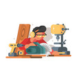 woodworker man at workplace vector image
