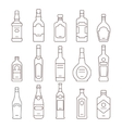 Alcohol drink bottles types of icons set vector image