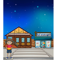 A boy standing in the street vector image vector image