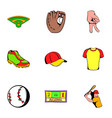 baseball cap icons set cartoon style vector image