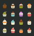 Sweet cupcakes icons vector image