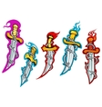Daggers with barbed wire and fire flames vector image vector image