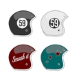 Set of four colored Football Helmets vector image