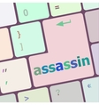 assassin word on computer pc keyboard key vector image
