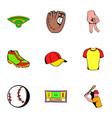 baseball cap icons set cartoon style vector image