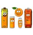 Cartoon orange juice packs with fruit vector image