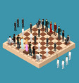 chess people figures on a chessboard isometric vector image
