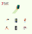flat icon phone set of accumulator keep phone vector image