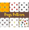 flat style set of patterns with bug vector image
