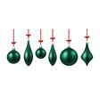 green isolated christmas balls set vector image