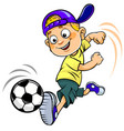 soccer cartoon kid vector image
