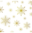 Golden glitter grunge snowflakes Christmas vector image