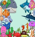 Sea life cartoon background vector image vector image