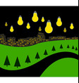 Landscape with night city vector image