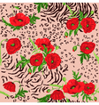 Floral Seamless Pattern - Poppy and Animal Skin vector image