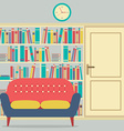 Reading Seats In Front Of A Huge Bookcase vector image