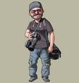 Cartoon joyful male photographer with camera vector image