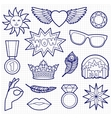 Fashion Patches Set on Squared Paper vector image