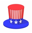 Hat in the USA flag colors icon cartoon style vector image